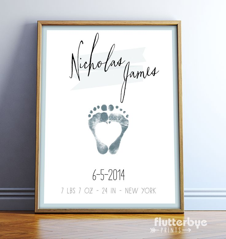 Baby Footprint Personalized Boy Nursery Wall Art