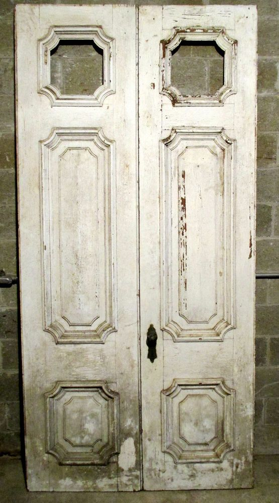 ~ AMAZING SET ANTIQUE DOUBLE ENTRANCE FRENCH DOORS 52x107 ARCHITECTURAL SALVAGE