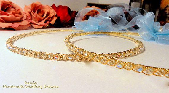 Handmade Swarovski Stefana.Orthodox Wedding crowns.Gold by RNIA, €74.00