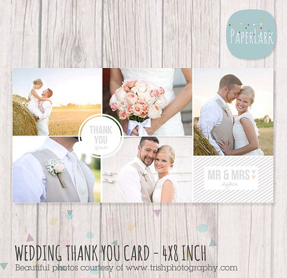 Wedding Thank You Card 4x8 inch Photoshop by PaperLarkDesigns