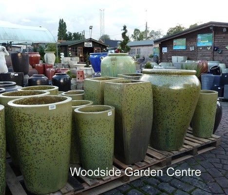 Extra Large Swamp Green Glazed Palace Pot | Woodside Garden Centre | Pots  To Inspire