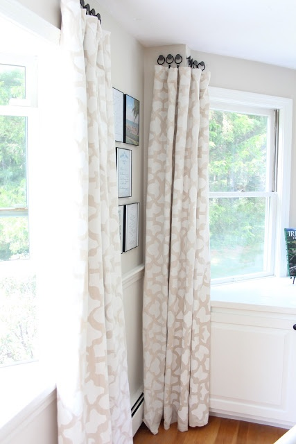 Shine Your Light: Stenciled Drop Cloth Curtain Tutorial - with knobs and