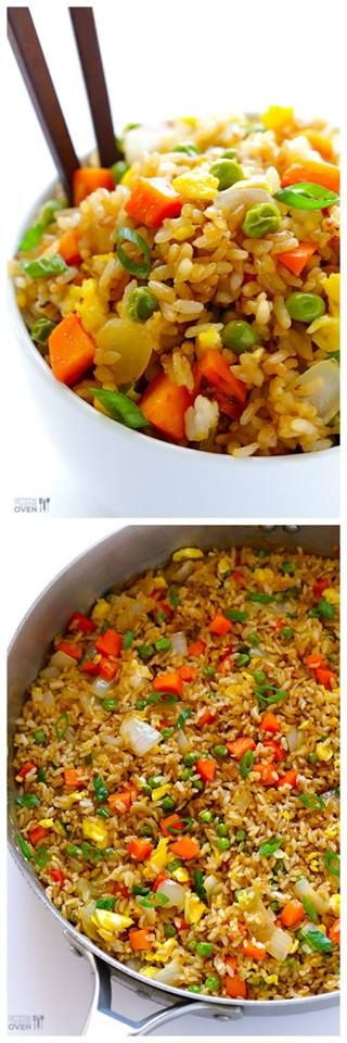 Fried Rice  Prep Time: 5 minutes Cook Time: 10 minutes Total Time: 15 minutes Yield: About 4 servings Ingredients  3 Tbsp. butter, divided 2 eggs, whisked 2 medium carrots, peeled and diced 1 small white onion, diced 1/2 cup frozen peas 3 cloves garlic, minced salt and pepper 4 cups cooked and chilled rice (I prefer short-grain white rice) 3 green onions, thinly sliced 3-4 Tbsp. soy sauce, or more to taste 2 tsp. oyster sauce (optional) 1/2 tsp. toasted sesame oil