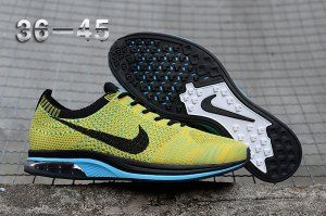 new products f1fd9 5bf64 Mens Womens Nike Air Zoom Mariah Flyknit Racer Running Shoes Yellow Black  White Blue