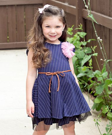 Love this Navy & White Polka Dot Belted Dress - Toddler & Girls on #zulily! #zulilyfinds