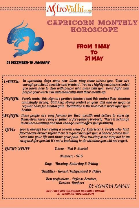 Check your Capricorn Monthly Horoscope (May-2016).Read your monthly horoscope online Hindi/English at AstroVidhi.com.  #Capricorn #Monthly_Horoscope