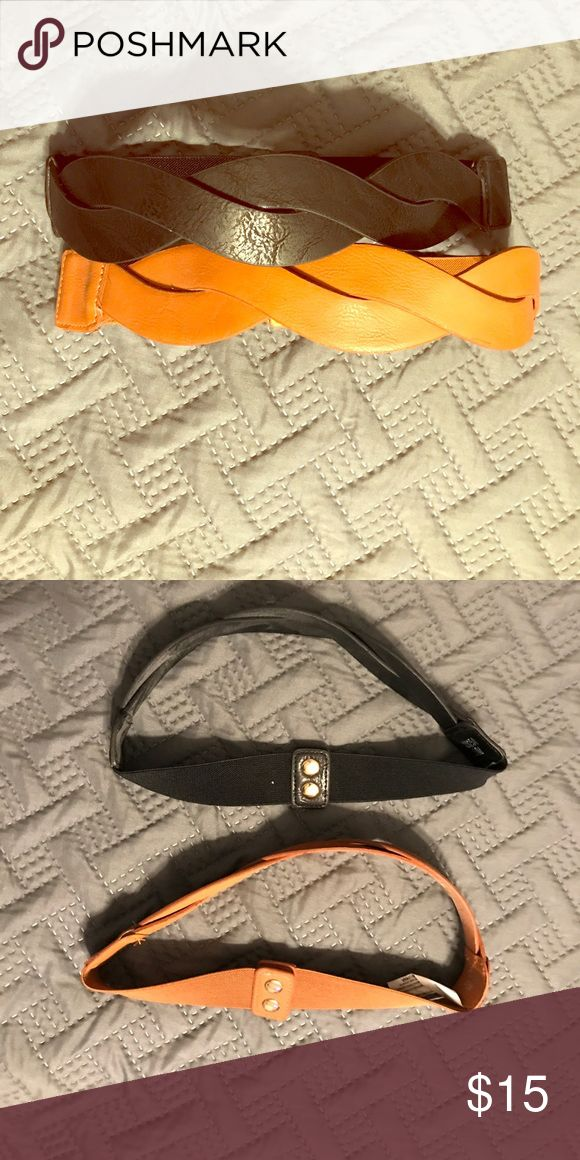 Belts Double button stretch neutral belts. Great paired with dresses and long scarves belted over a t shirt and jeans. Sold together! Francesca's Collections Accessories Belts