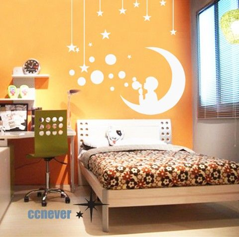 Boy Bubbles Moon StarsRemovable Graphic Art Wall Decals By Ccnever, $25.95 Part 82