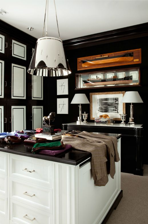 Black and white closet/dressing room