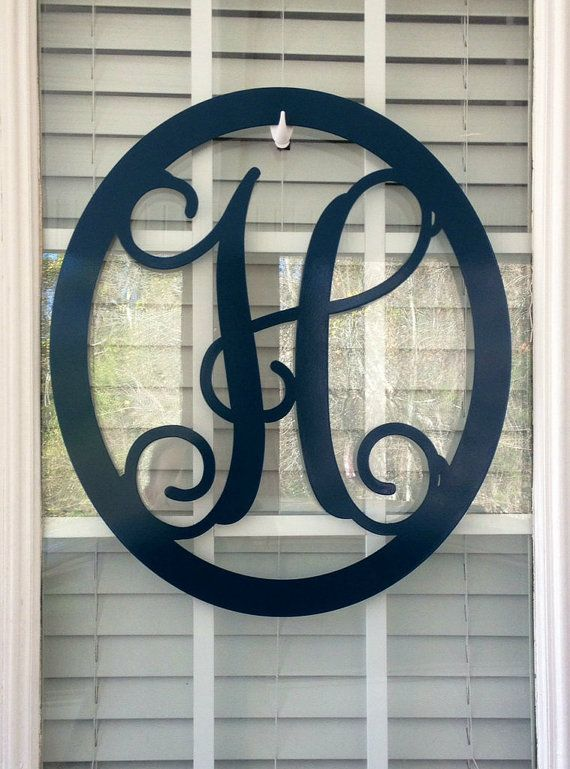 Metal Monogram Door Hangers. Made to withstand outside elements. 18 Oval. Great custom gifts, Anniversary gift & Wedding gift. Decor for a