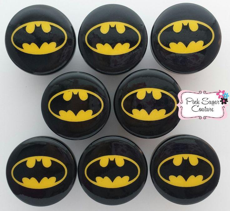 8 BATMAN Knobs BLACK SUPERHEROS  Handmade m2m Kids Nursery Room Bedding Drawer Pull Kids Decor boys girls by PinkSugarCouture on Etsy https://www.etsy.com/listing/246661522/8-batman-knobs-black-superheros-handmade