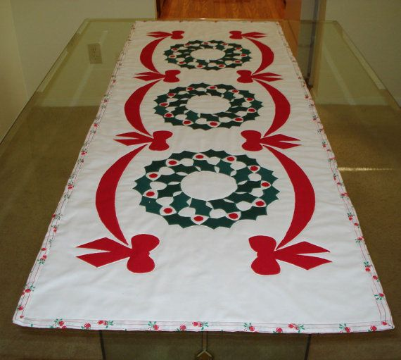 Christmas Table Runner Quilted  Holly Wreaths by MurphysHouse