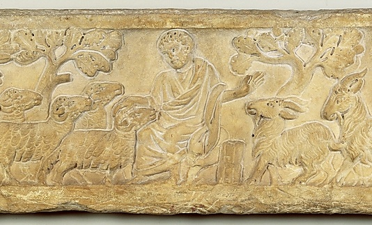 Part of a Sarcophagus Lid with the Separation of the Sheep from the Goats. Late 3rd- early 4th century. Roman.