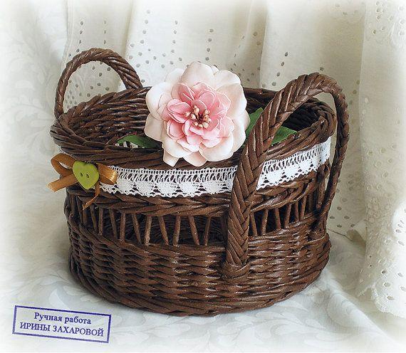 Wicker basket Vintage French Bread box French basket Storage of grain Baguette…