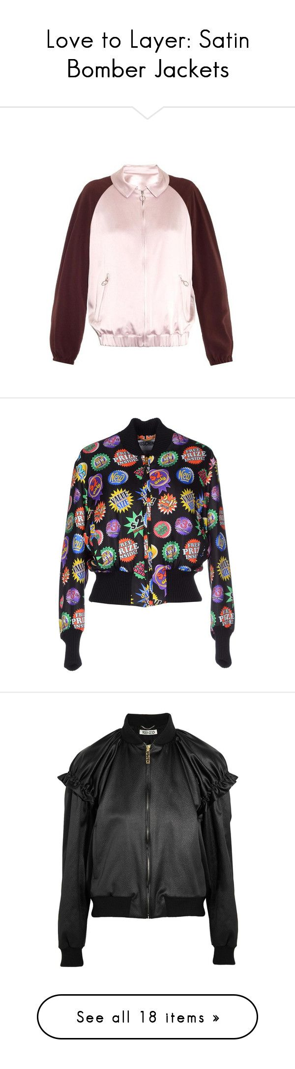 """""""Love to Layer: Satin Bomber Jackets"""" by polyvore-editorial ❤ liked on Polyvore featuring satinbomberjacket, outerwear, jackets, light pink, pink satin jacket, light pink jacket, satin jacket, boyfriend jacket, satin slip and black"""