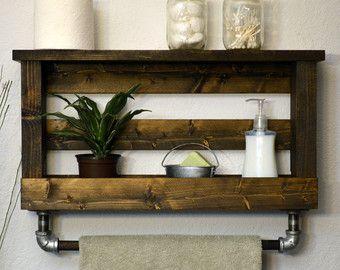 Rustic Modern Bathroom Shelf Bath Towel Rack by RusticModernDecor