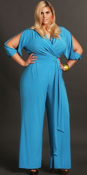 "OMG!!! ""Hilary"" Slit Sleeve Wrap Jumpsuit - Blue (also comes in black) by Monif C... I need this in my life."