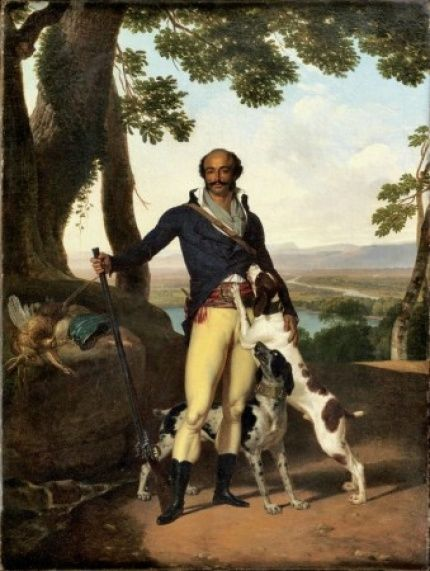"""Portrait of a Hunter in a Landscape by Louis Gauffier (1762-1801). This is a portrait of General Dumas...Yes, of that famous Dumas family of France, where the """"Three Musketeers"""" and """"Man In Iron Mask"""" and """"Count of Monte Cristo"""" came from. Their Linage is out of Haiti (originally Hispaniola) in the Caribbean. The French nicknamed him """"the Horatius Cocles of the Tyrol"""" (after a hero who had saved ancient Rome)."""