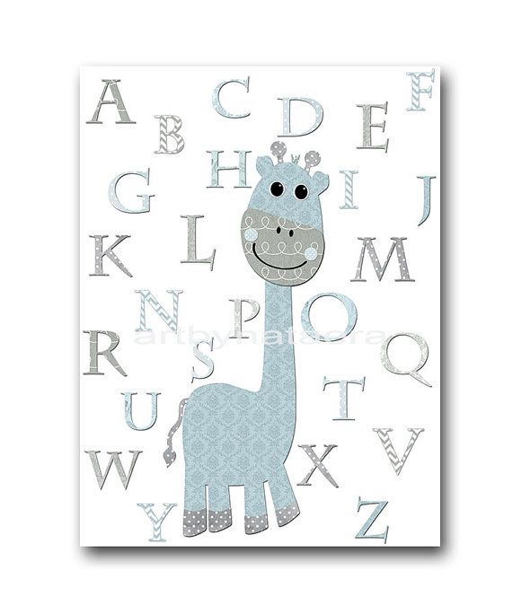 Giraffe Alphabet Nursery Quotes Digital Nursery Art Nursery