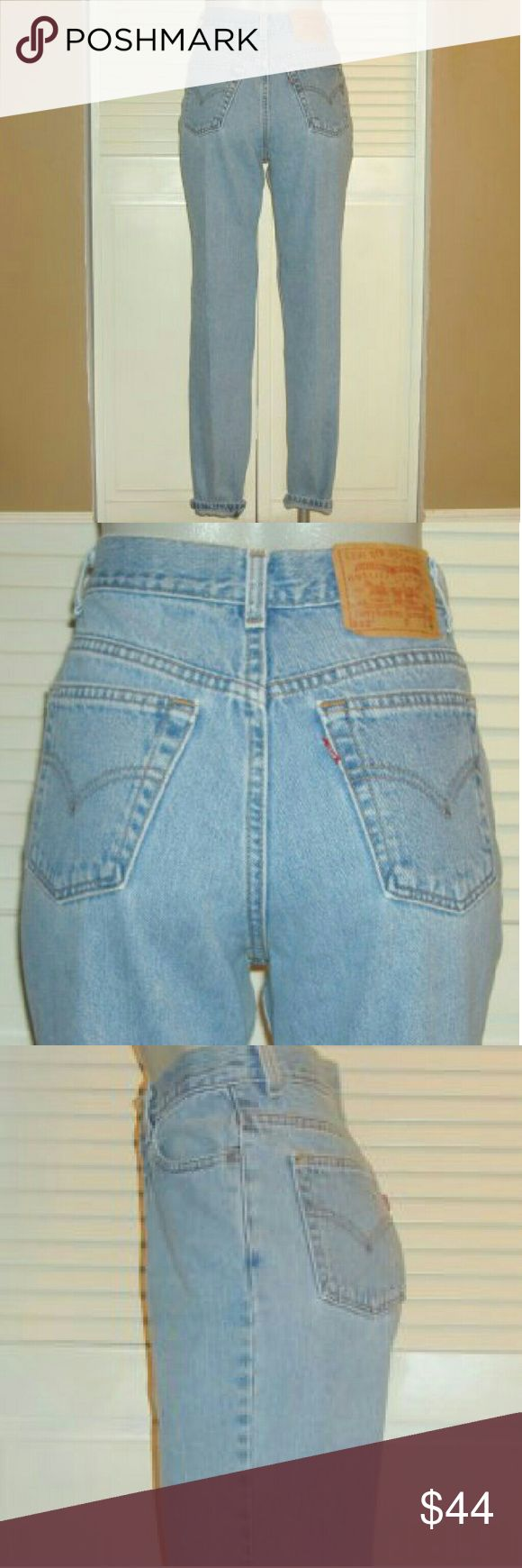 """Vntg Levis 512 High Waist Slim Fit Tapered Jeans This pair of Vintage Levi's 512 jeans are 27"""" around the waist, 37"""" around the hips, have an 11"""" rise and a 30 1/2"""" inseam. Levi's Jeans Straight Leg"""