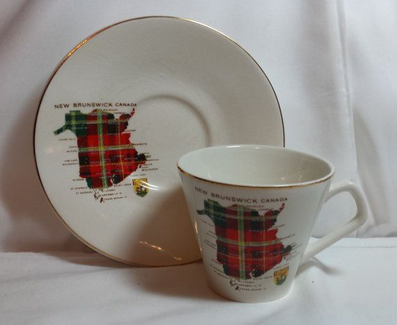 Tartan du Nouveau-Brunswick thé tasse et soucoupe, Lord Nelson Angleterre, carte du Nouveau-Brunswick, Canada