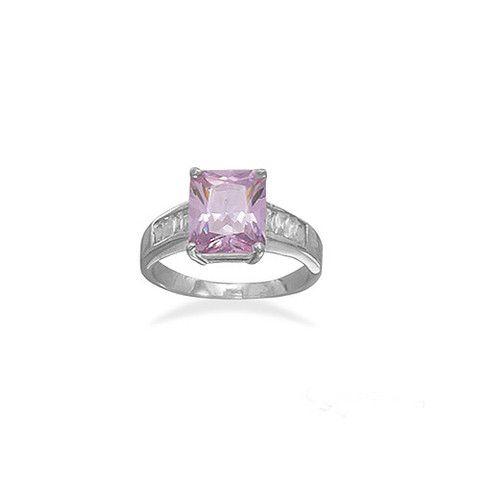 Lavender Amethyst Emerald Cut CZ Stone Ring – Tribal Native LA