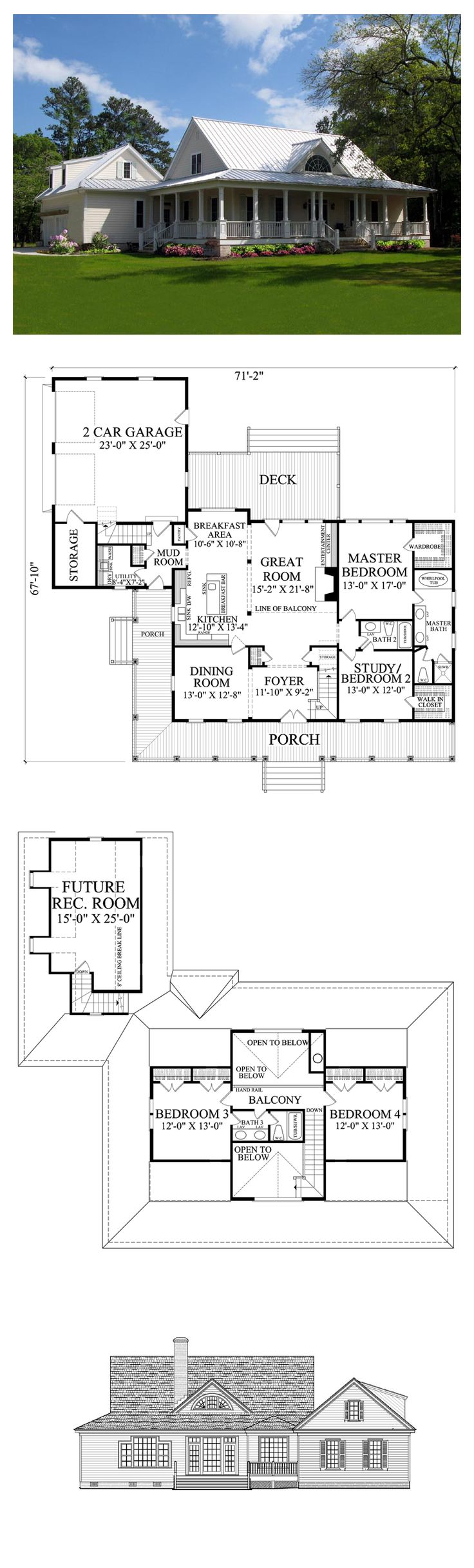Country Style COOL House Plan ID: chp-47632 | Total Living Area: 2553 sq. ft…