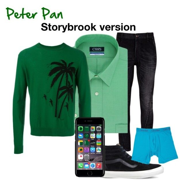"""Peter Pan"" by oppachan on Polyvore featuring Denham, Chaps, N°21, Vans, Off-White and Calvin Klein Underwear"