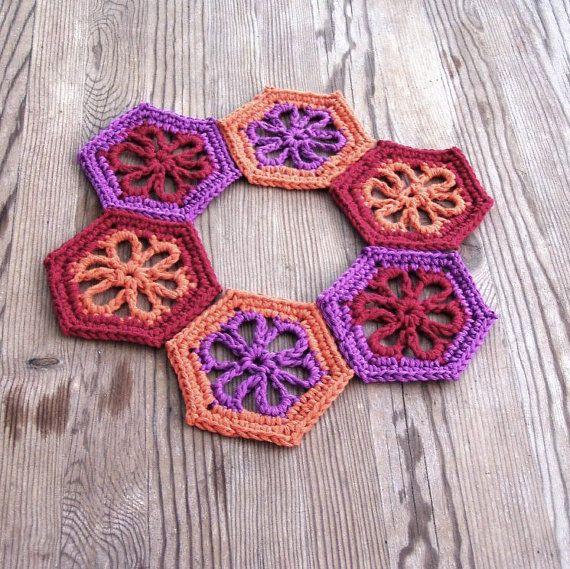 Dahlia coasters Floral coasters Crochet coaster set by HEraMade $33