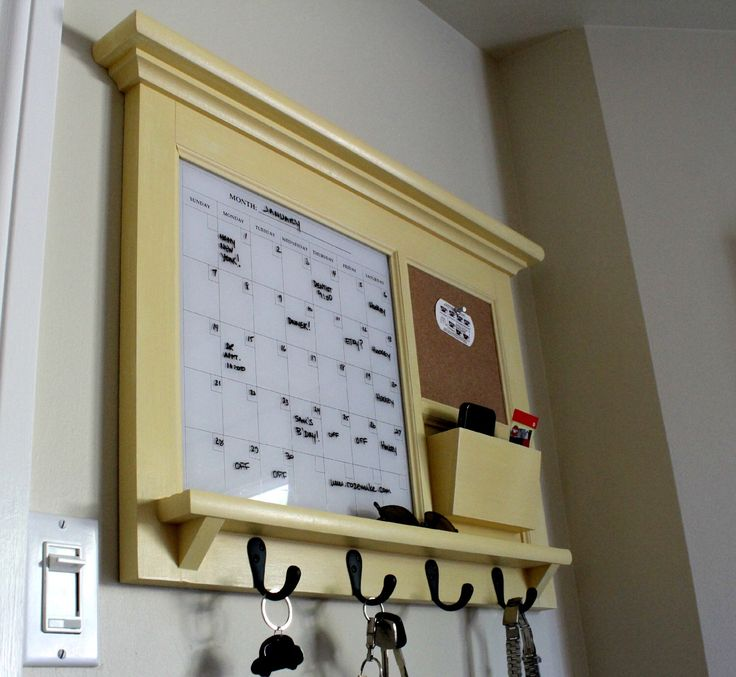 Kitchen Mail Family Organizer Monthly Calendar Dry Erase Board, Bulletin Board, Mail Slot, Hooks Shelf in Black, Red, White, Brown or Yellow by Rozemake on Etsy https://www.etsy.com/listing/233996966/kitchen-mail-family-organizer-monthly
