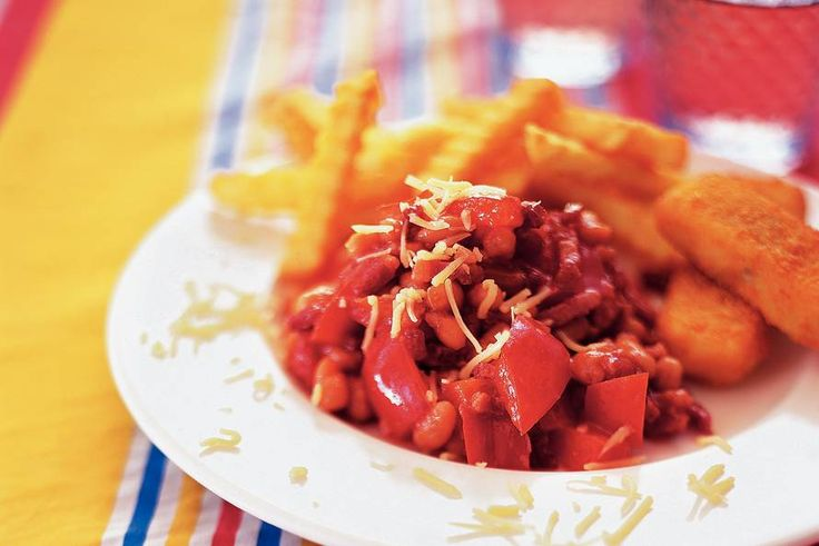 Rode bonensmurrie-Witte bonen in tomatensaus, spekjes, paprika