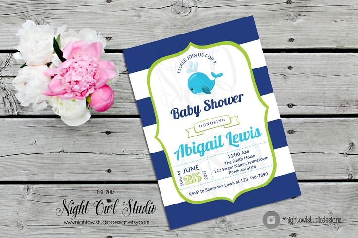 Preppy Whale Invitation, Nautical Whale Invite, Under the Sea Invite, Bold Stripes, Baby Shower by NightOwlStudioDesign on Etsy