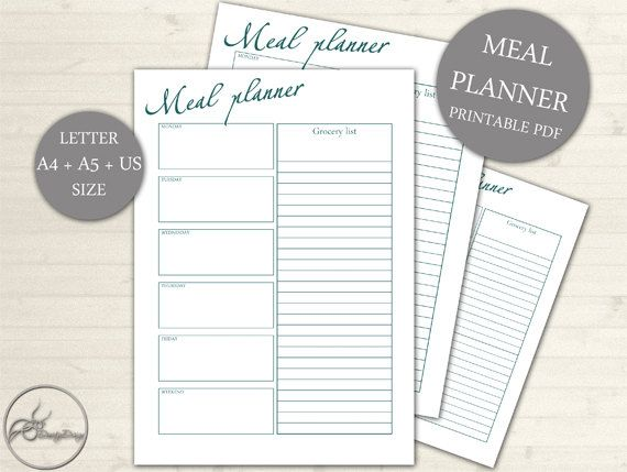 Meal Planner / Grocery List Printable Page - Weekly Meal and Shopper Planner Page - US Size A4 A5 - Grocery List, INSTANT DOWNLOAD #102