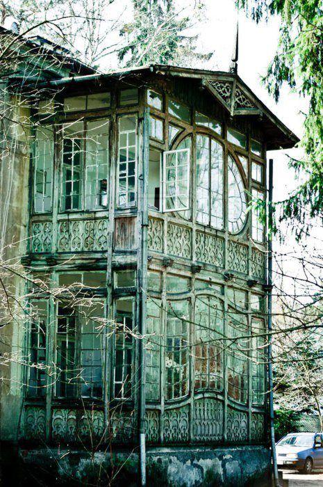 2 storey derelict Victorian conservatory