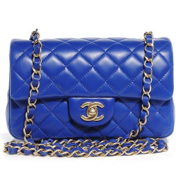 Fashionphile - CHANEL Lambskin Quilted Mini Flap Bleu Fonce ❤ liked on Polyvore featuring bags, handbags, laukut, sac, lambskin purse, lambskin leather handbags, flap handbags, lamb leather handbags and blue purse