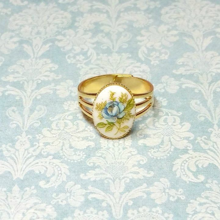 Adjustable Ring Blue Rose Cameo Ring Blue Flower Cameo Ring Vintage Style Ring Antique Style Ring