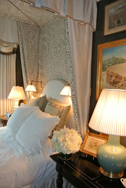Gorgeous English Country Cottage Bedroom ~ interior design ideas and decor by Alexa Hampton at Kips Bay Show House