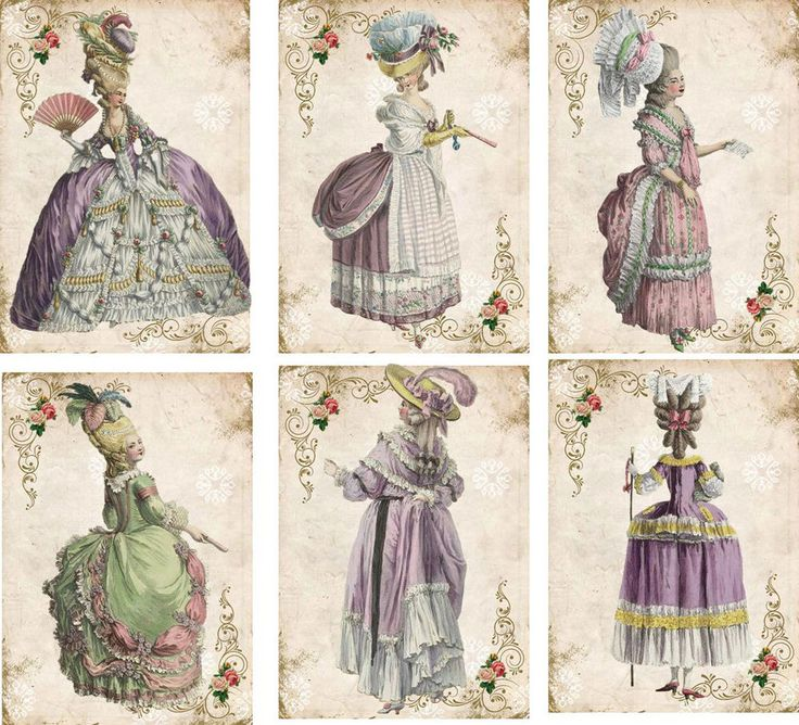 Vintage inspired Marie Antoinette pastel color gowns cards tag ATC set of 6 in Home & Garden | eBay