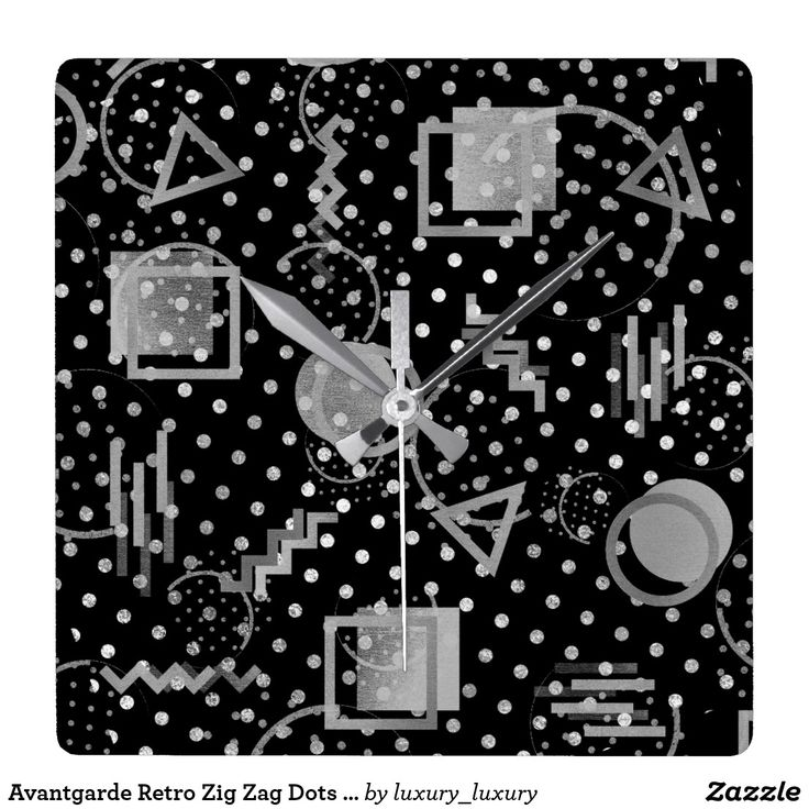 Avantgarde Retro Zig Zag Dots Silver Gray Black