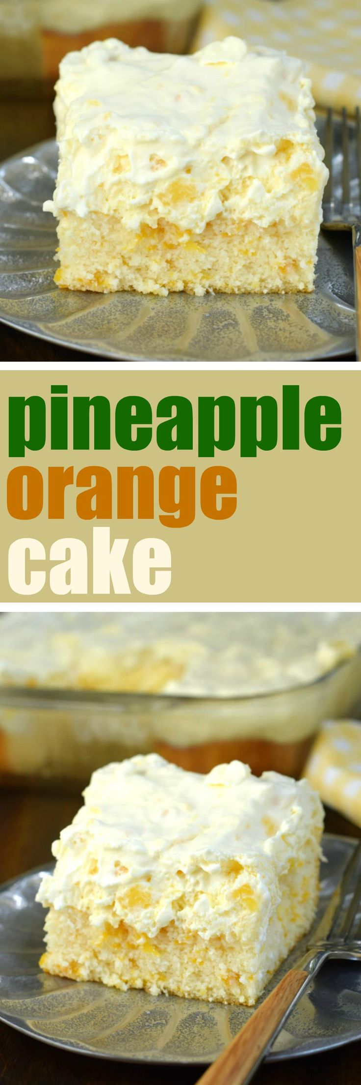 Pineapple Orange Cake is an easy, light dessert recipe that's nearly guilt free! You'll love the refreshing, moist orange cake topped with creamy pineapple flavored frosting!
