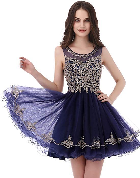 b2e554c6ce Amazon.com  Belle House Chiffon Prom Black Homecoming Dress Short Junior  Party Dresses 2018 V Neck Ball Gown Gold Lace Apppiqued  Clothing