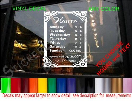 Store hours custom window decal business shop storefront vinyl door sign company name personalized sticker decals