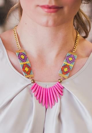 Adorn. Woven bead necklace, pink spikes, Aztec pattern seed bead straps from Shh by Sadie on ASOS Marketplace. Shhbysadie.com