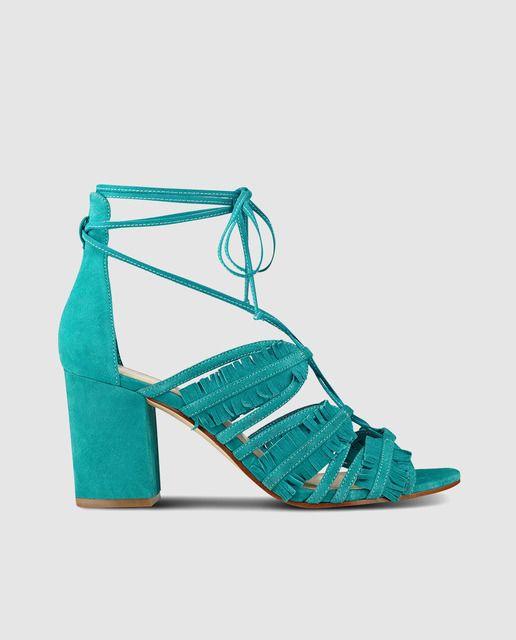 Sandalias de tacón de mujer Nine West de piel en color azul