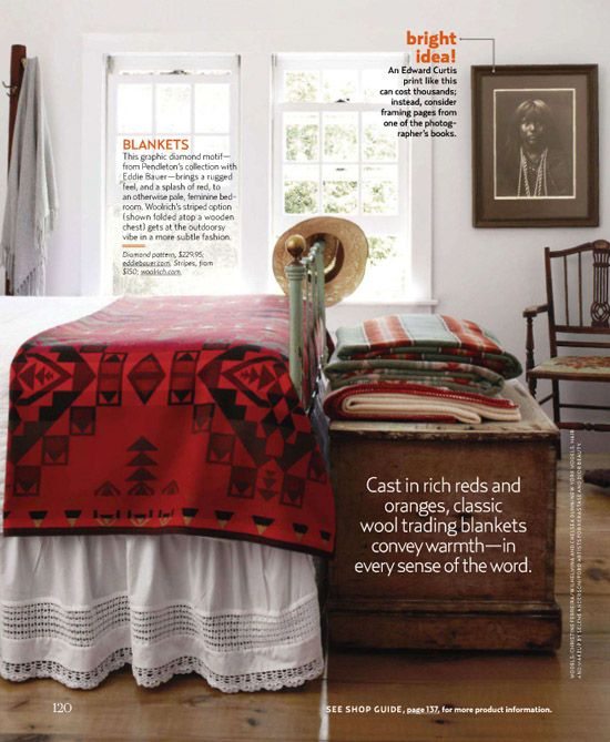 blankets on white bed / country living 10/2011