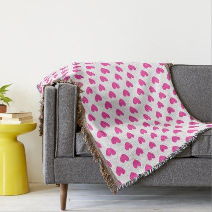 Fuchsia pink polka hearts on white throw blanket - home gifts ideas decor special unique custom individual customized individualized