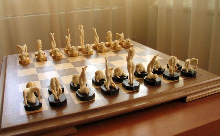 "Oleg Raikis, ""Flexible Girls"", Chess Set, Sculpture, Mammoth Ivory, Amber and Rare Wood."