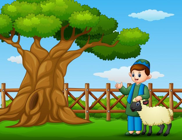 Happy Muslim Kid With A Sheep Beside A Tree Inside The Fence Diy Art Painting Muslim Kids Illustration