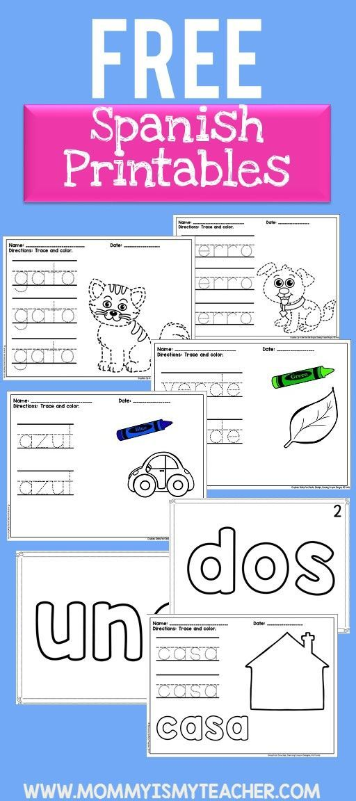 I just printed 10 free printables to teach my children Spanish! These will help my kids learn Spanish. Love these free preschool printables!