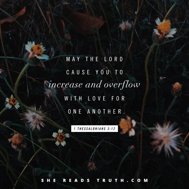 """May the Lord cause you to increase and overflow with love for one another."" - 1 Thessalonians 3:12 